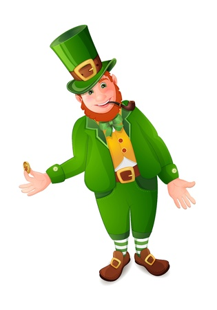 Leprechaun with gold coin isolated  on white Stock Vector - 18232178