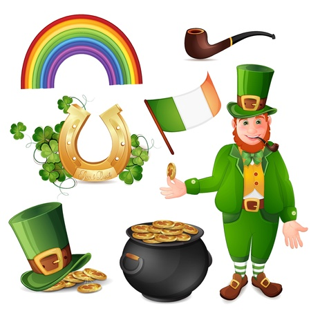 Leprechaun and Saint Patrick s Day symbols isolated on white Vector