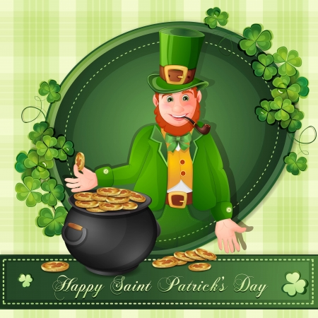dwarf costume: Saint Patrick Day s card with leprechaun,clover and gold coins Illustration