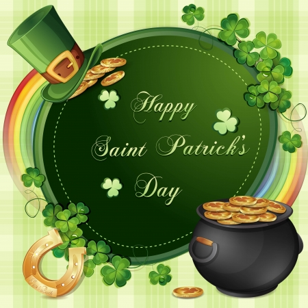 Saint Patrick s Day card with clover and cauldron with gold Stock Vector - 18303254