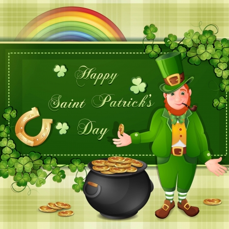 Saint Patrick Day s card with leprechaun,clover and gold coins Vector