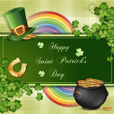 saint patrick's day: Saint Patrick s Day card with clover ,hat and gold Illustration
