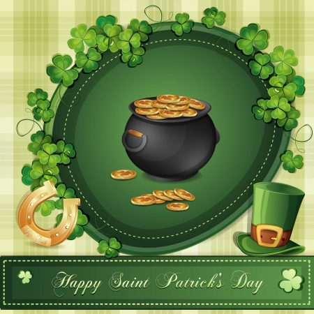 Saint Patrick s Day card with clover ,hat and gold Stock Vector - 18303250