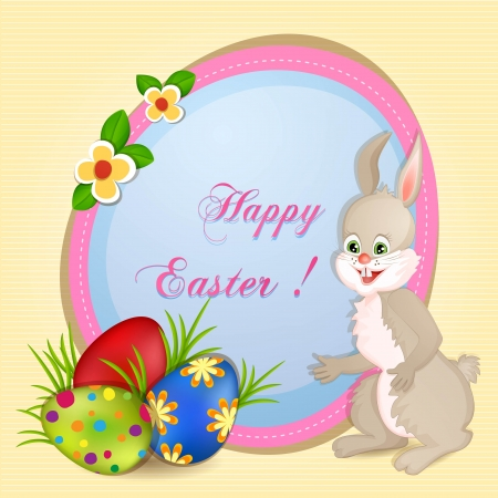 Easter greeting card with eggs and cute bunny Stock Vector - 18512604