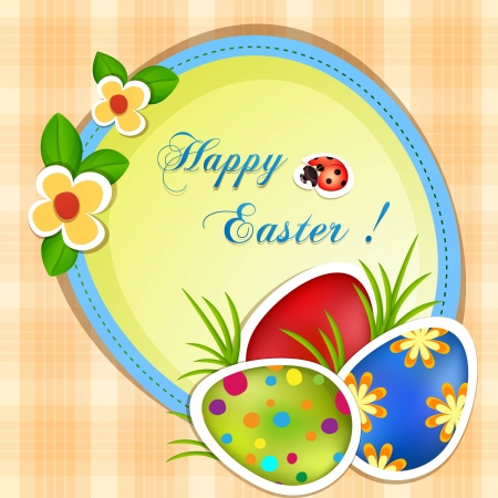 Easter greeting card with eggs and flowers   Stock Vector - 18512606