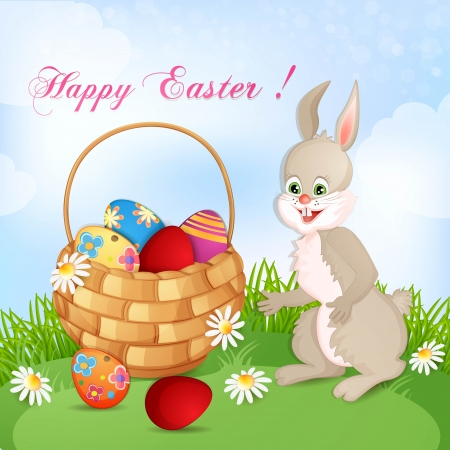 Easter greeting card with cute bunny and basket with Easter eggs Stock Vector - 18641154