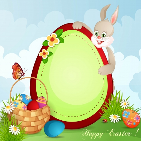 Easter greeting card with cute bunny and basket with Easter eggs Stock Vector - 18641155