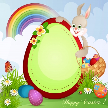 Easter greeting card with cute bunny and basket with Easter eggs Stock Vector - 18641156