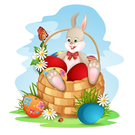 Easter greeting card with cute bunny in basket with Easter eggs Vector