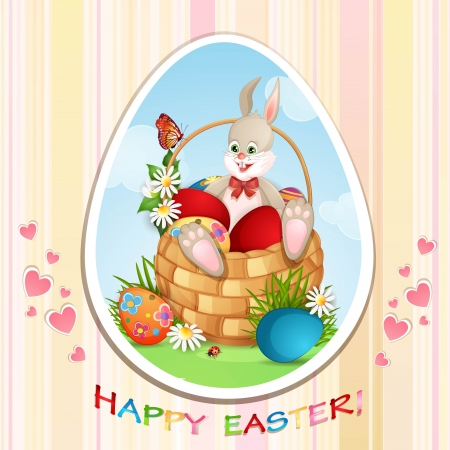 Easter greeting card with cute bunny and  Easter eggs Stock Vector - 18846888