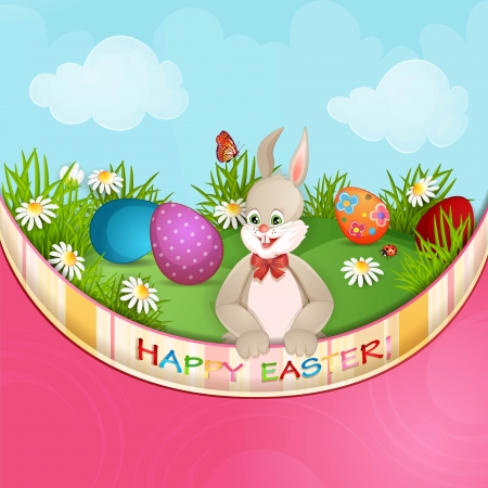 Easter greeting card with cute bunny and  Easter eggs Stock Vector - 18846890
