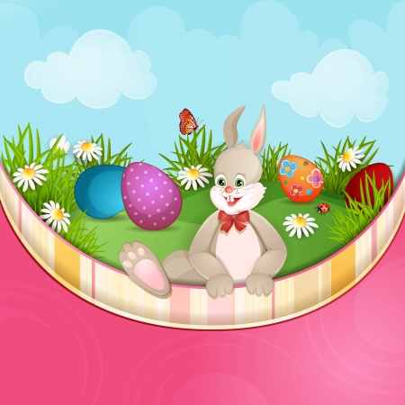 Easter greeting card with cute bunny and  Easter eggs Stock Vector - 18846889