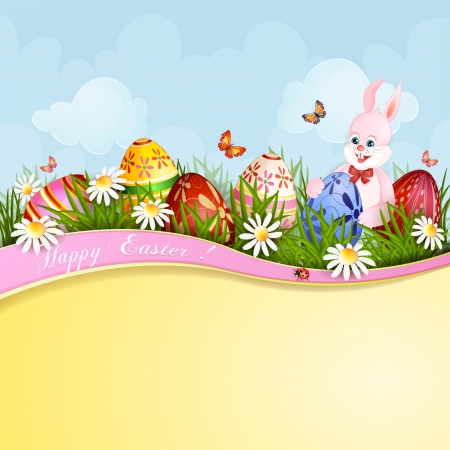 Easter greeting card with cute bunny and Easter eggs Stock Vector - 19103147