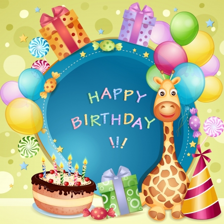 Birthday card with birthday cake, balloons and gifts Vector