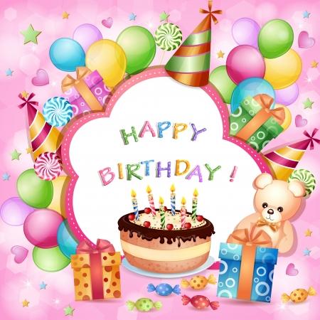 pasteles de cumpleaños: Tarjeta de cumplea?os con la torta de cumplea?os, globos y regalos