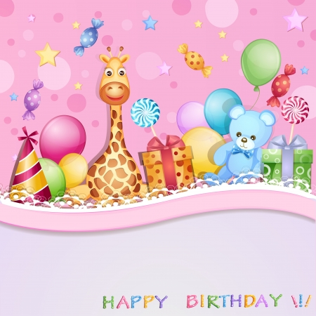 Birthday card with balloons, gifts and candies Illustration