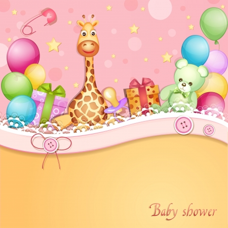 Baby shower card with toys and balloons