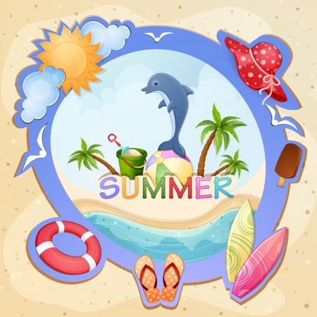 sun lotion: Summer Ilustraci�n de vacaciones con los delfines