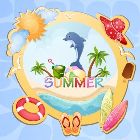albatross: Summer holiday illustration with dolphin