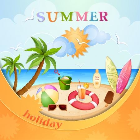 sun lotion: Summer holiday ilustraci�n