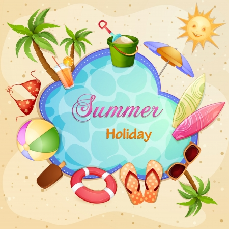 vacation summer: Summer holiday illustration with palm trees  Illustration