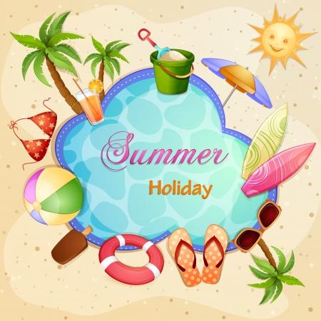 summer vacation: Summer holiday illustration with palm trees  Illustration
