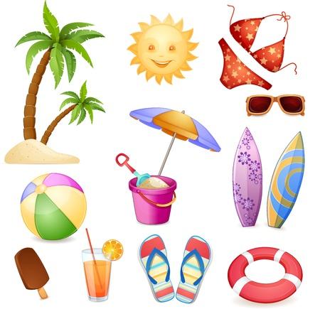 Summer elements isolated on white  向量圖像