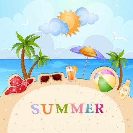 sun lotion: Summer holiday ilustraci�n con palmeras Vectores