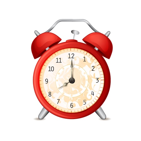 workday: Old-fashioned alarm clock isolated on white