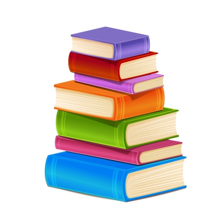 pile of books: Stack of colorful books isolated on white Illustration