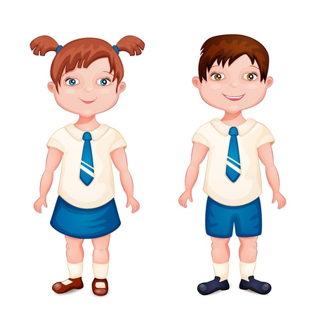 brother and sister cartoon: Boy and girl in school uniform isolated on white  Illustration