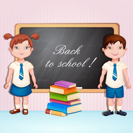 school girl uniform: Back to school illustration with boy and girl in school uniform