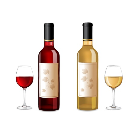 alcohol bottles: Red and white wine bottles and grapes isolated on white