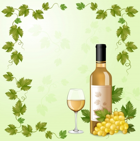 White wine bottle and grapes Vector