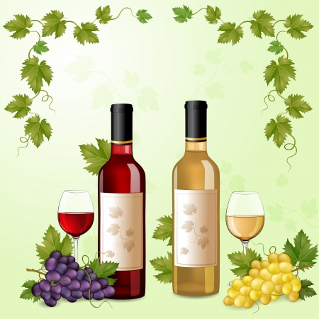 Red and white wine bottles ,glasses and grapes  Vector