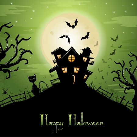Halloween illustration with cat, bats and castle on green background