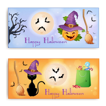 Set of two Halloween banners  Vector