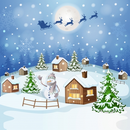 winter landscape: Winter landscape with Santa Claus s sleigh flying on the sky