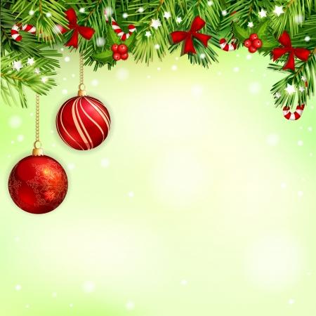 Illustration de Noël avec la branche et les bonbons d'arbres de Noël