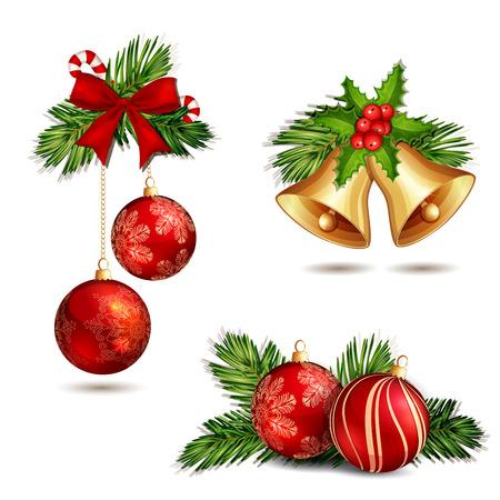 campanas navidad: Decoraci�n de Navidad aislado en blanco Vectores