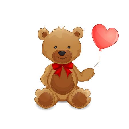 Cute teddy bear with balloon  Illustration