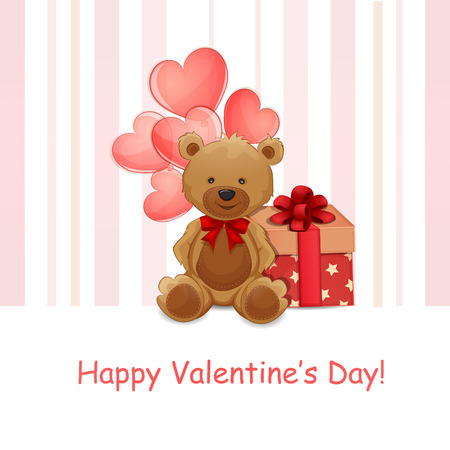 valentine s day teddy bear: Valentine s Day illustration with cute teddy bear Illustration