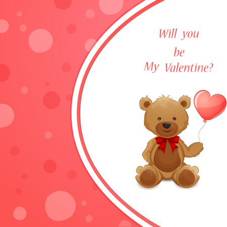 valentine s day teddy bear: Valentine s Day illustration with cute teddy bear