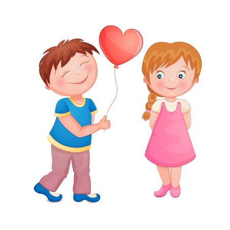 balloon woman: Cute boy giving a heart balloon on Valentine s day to a beautiful little girl  Illustration