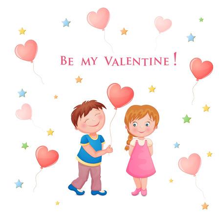 かわいいカップルをバレンタインの s 日イラスト