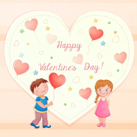 Valentine s day illustration with cute couple  Vector