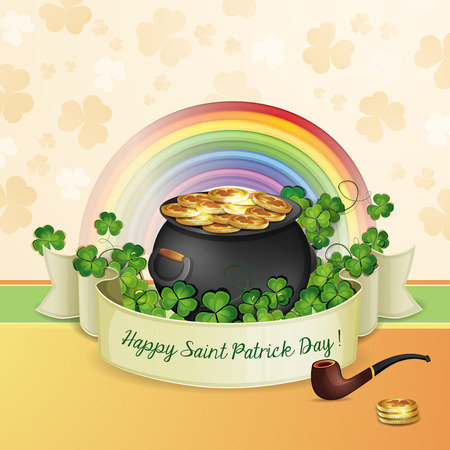 Saint Patrick s Day card with clover and cauldron with gold  Illustration
