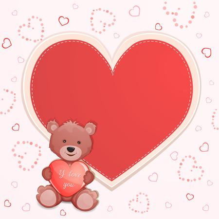 valentine s day teddy bear: Valentine s day illustration with cute teddy bear