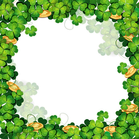 st  patrick's day: St  Patrick s Day frame with clover and golden coins  Illustration