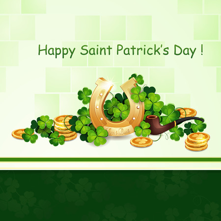saint patrick��s day: Saint Patrick s Day card with clover and horseshoe
